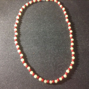 Jade , Pearl, and Coral Necklace 22 inches