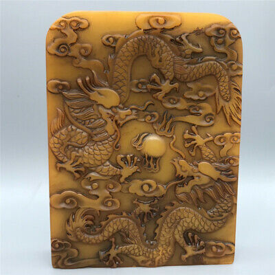 Chinese antique natural Shoushan stone hand-carved pattern seal
