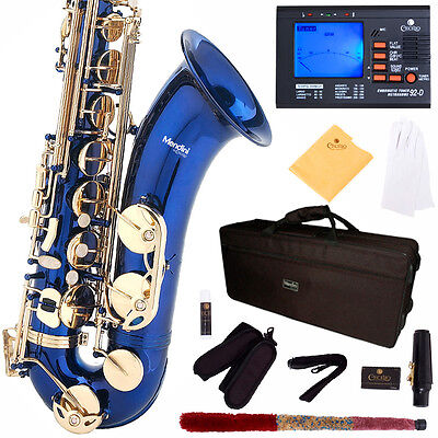 MENDINI BLUE LACQUERED TENOR SAXOPHONE SAX W/ TUNER, CASE, CAREKIT on Rummage
