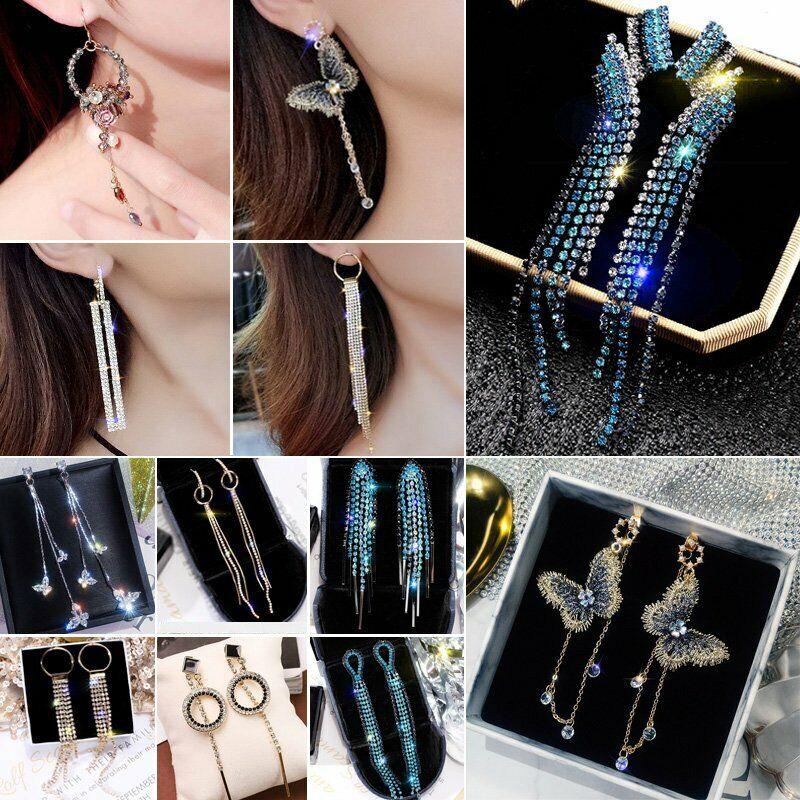 Fashion Long Tassel Crystal Earrings Women Drop Dangle Ear S