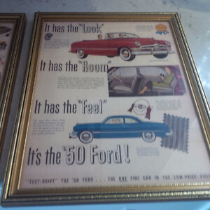 Two Framed Ford and Chevrolet Vintage Vehicles