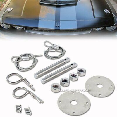 Racing Style Stainless Steel Mount Hood Pin Plate Bonnet Lock Kit Universal 5 ()