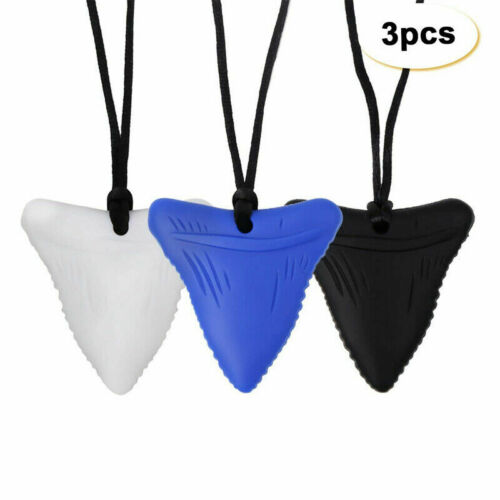 3PCS Shark Tooth Sensory Chew Necklace for Kids Teething Toy Autism Teether Gift