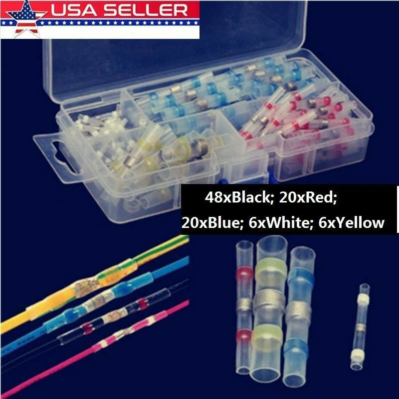100PCS Solder Sleeve Heat Shrink Butt Waterproof AWG 10-26 Wire Splice Connector Car Audio & Video Installation