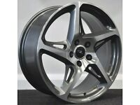 """18"""" River R4 (Gumetal) alloy Wheels and Tyres. Suit Audi A3, A4 VW Golf, Caddy, Jetta, Seat (5x112)"""