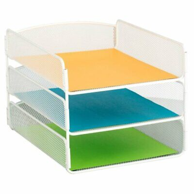 Safco Onyx 3 Tray Desk Organizer In White