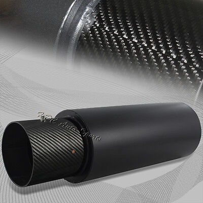"4"" N1 Carbon Fiber Tip Black Stainless Steel Weld-On Exhaust Muffler 2.5"" Inlet"