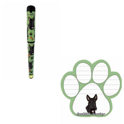 Bundle - 2 Items: Scottie Dog Paw Magnetic Note Pad & Gel Pen