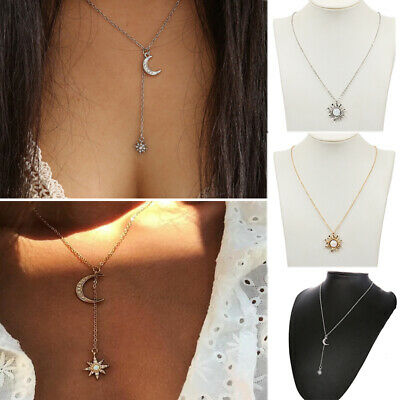 Boho Women Fashion Jewelry Gift Moon Sun Star Crystal Pendant Necklace Vintage (Sunstar Gifts)