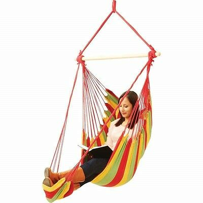 Hanging Rope Chair +FOOT REST Porch Swing Garden Tree Hammock Outdoor Patio Yard