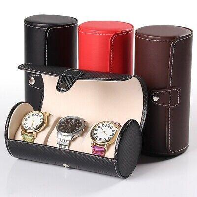 3 Grids Watch Box PU Leather Travel Case Wrist Display Jewelry Storage Organizer