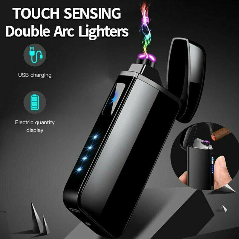Hot Dual Arc Electric USB Lighter Rechargeable Flameless Windproof Tesla Plasma