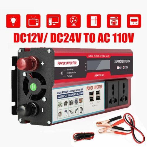Power Inverter 4000Watt Max DC 12V to 110V AC Converter Adapter Charger Supply