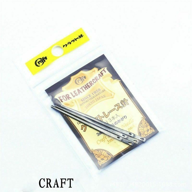 3pcs Japan Craft 3mm Steel Needle LeatherCraft Leather Lacing Threading  Tools