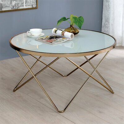 ACME Valora Coffee Table in Frosted Glass and Champagne