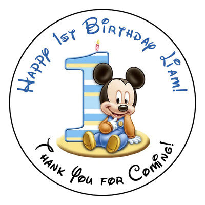 12 Baby MICKEY MOUSE 1ST BIRTHDAY STICKERS labels 2.5