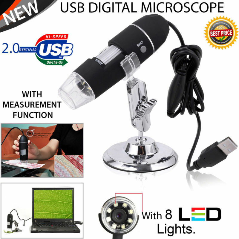 1000X 8LED USB 2.0 Digital 2MP Microscope Endoscope Zoom Camera Magnifier+Stand