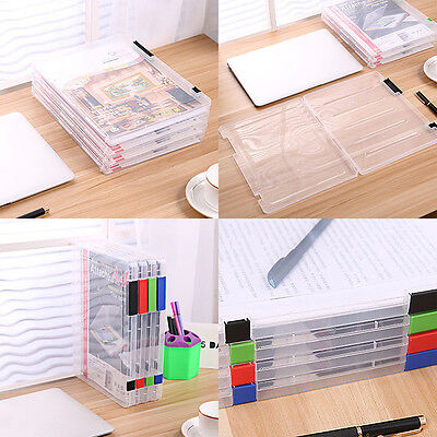 A4 File Clear Storage Box Plastic Document Cases Desk Paper Organizers Holders