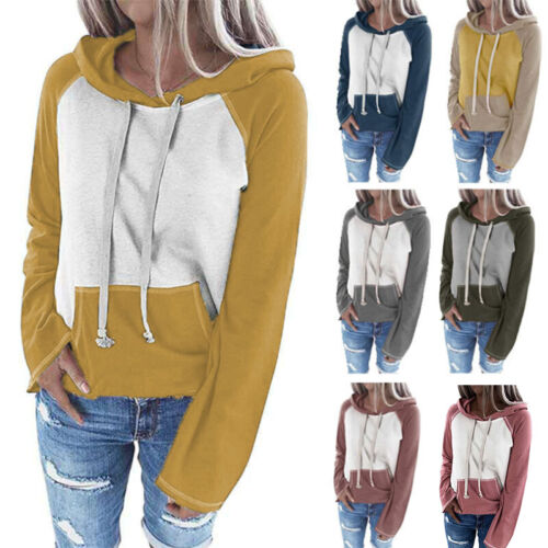 Women Long Sleeve Pockets Hoodie Sweatshirt Pullover Tops Casual Jumper Sweater Activewear