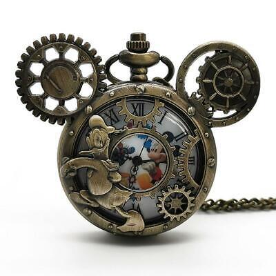 Disney Mickey Minnie Style Quartz Pocket Watch Steampunk Analog Necklace Chain