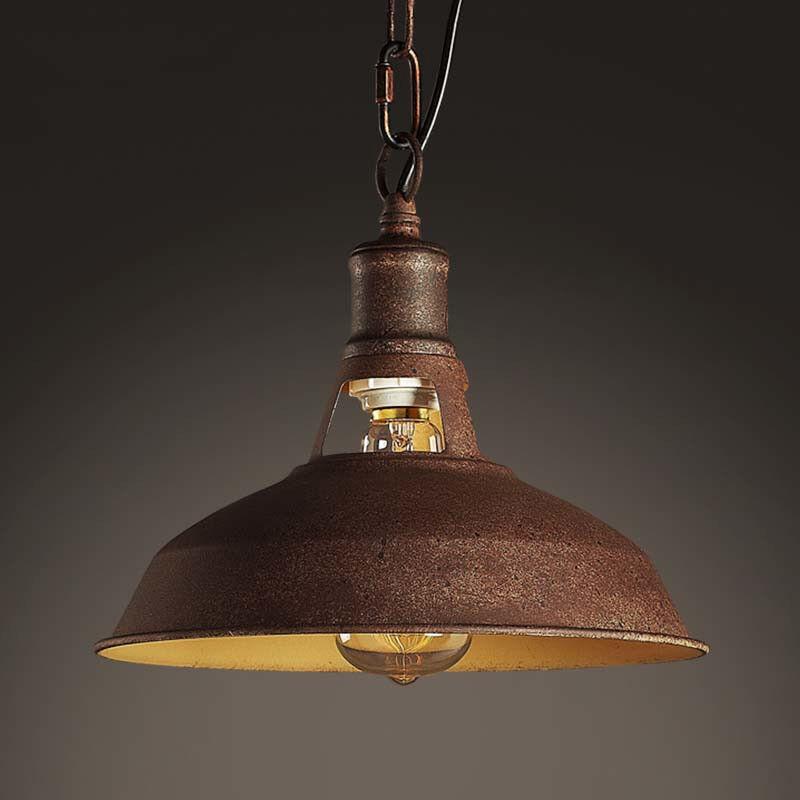 Aged Antique Industrial Copper Pendant Lamp Rustic Ceiling F