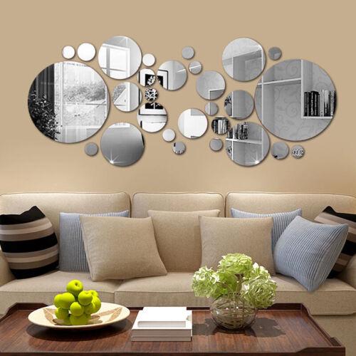 Home Decoration - 32PCS Home Wall Sticker Round Circle Mirror Setting Decal Art Stylish Decor UK