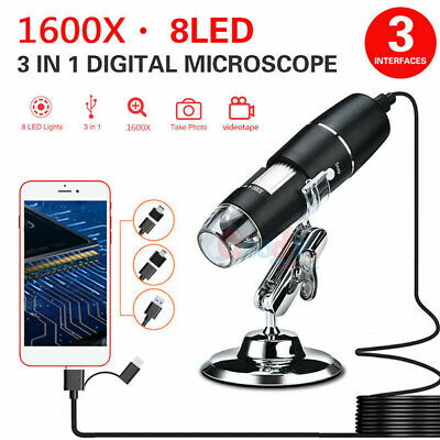1600x Magnifier 8led Usb Digital Microscope Camera For Pc Laptop Android Mac