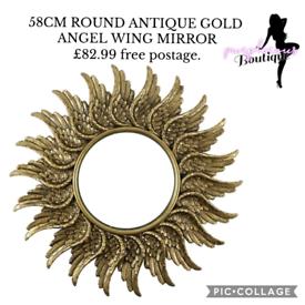 58CM ROUND ANTIQUE GOLD ANGEL WING MIRROR