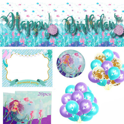 Mermaid Birthday Party Supplies Tableware, Balloons, Decorations, Banners, Bags