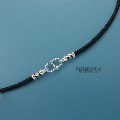 12 Round Leather - Sterling Silver 2mm Round Genuine Leather Cord Necklace w/ S Hook Clasp [12-40