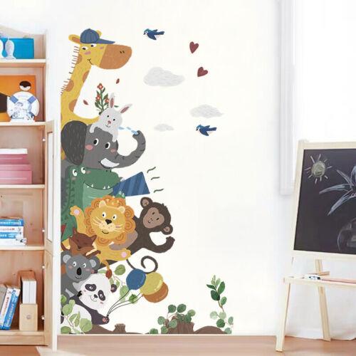 Jungle Animals Wall Sticker Giraffe Lion Elephan Decal Baby Nursery Room Gift