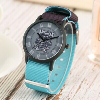 Steampunk Skull Gun Quartz Analog Watch Best Gift for Boy Girls Nylon Strap Band
