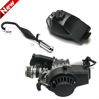 2-Stroke 49cc Pocket Mini Bike Engine Motor Gas Tank Exhaust Pipe Scooter ATV