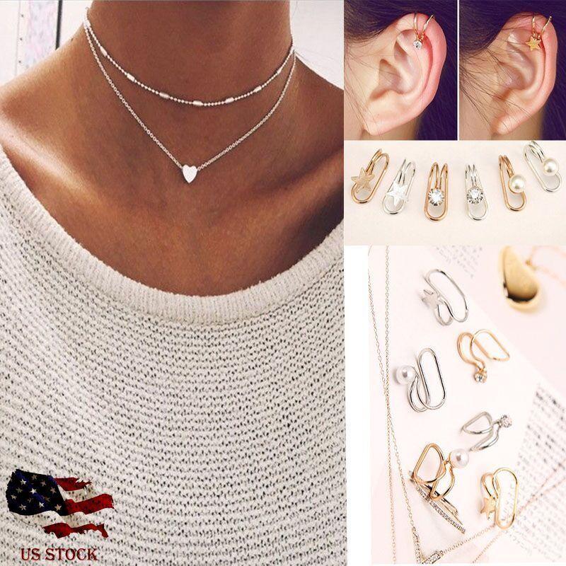 Jewellery - Simple Double Layers Chain Heart Pendant Necklace Choker Women Jewelry