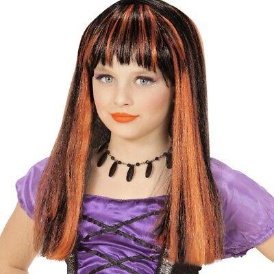 Hexe Mädchen Perücke schwarz orangefarbene Strähnchen Halloween Kinder Zauberin