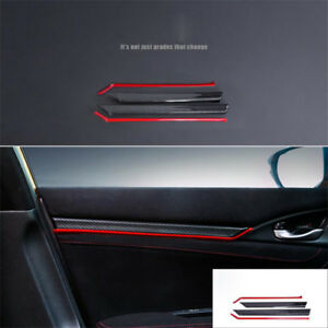 Carbon Fiber Interior Door Trim Decals Cover 8PCS For Honda Civic 10th 2016 2017