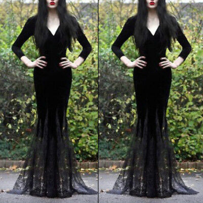 Sexy Women's Deep V Mermaid Lace Halloween Queen Party Cocktail Long Maxi Dress