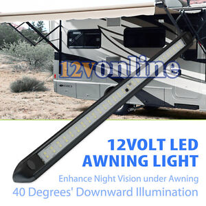 Black 12V LED Awning Strip Light Exterior Camping RV Caravan Boat Roof Wall Lamp