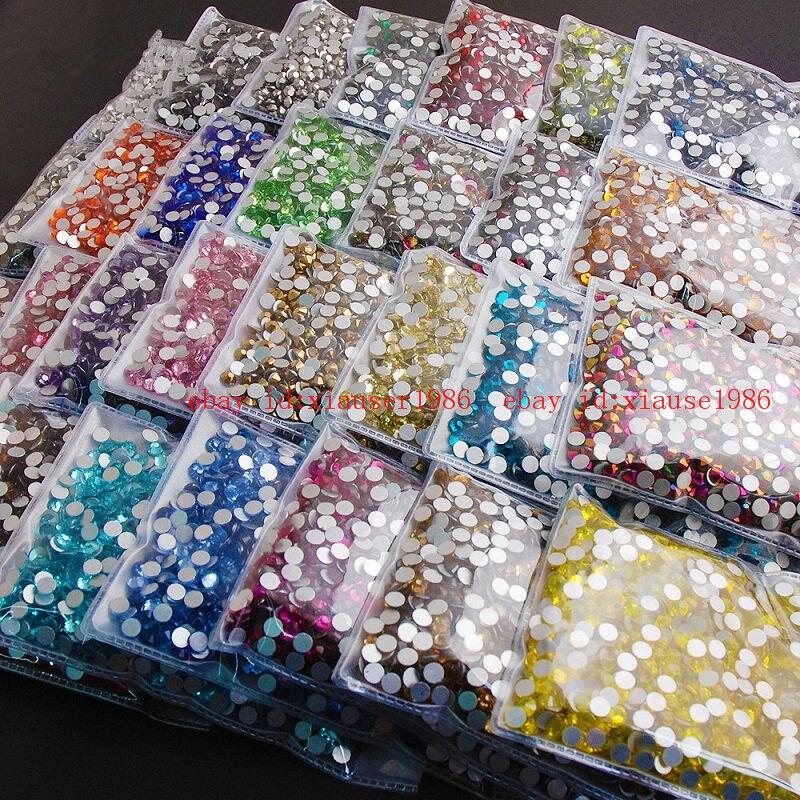 1440pcs/pack Ss20(5mm) Round Flatback Crystals Nail Art Rhinestones Glitter Gems