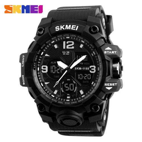 SKMEI Army Military Waterproof Sport Mens LED Quartz Analog Digital Wrist Watch