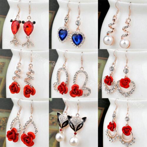 $0.92 - Rhinestone Crystal Pearl Flower Heart Animal Hook Drop Dangle Earrings Women New