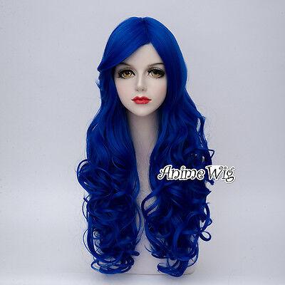 70 cm lange royalblau lockiges Haar Frauen Lolita Mode Cosplay volle Perücke