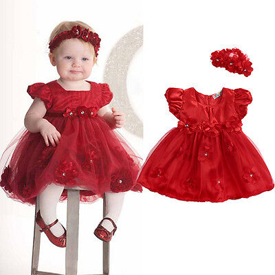 US Stock Baby Girl Christmas Princess Dress+Headband Wedding Party Dresses Red