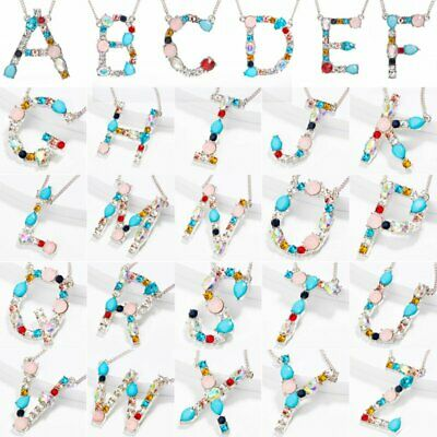 Women Colorful Full Crystal Initial Alphabet Letter A-Z Pendant Necklace Jewelry