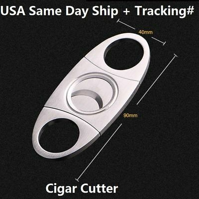 Silver Stainless Steel Pocket Cigar Cutter Knife Scissors Double Blades USA Ship