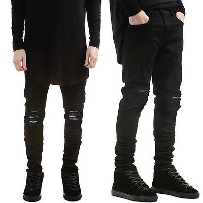 Distressed Denim Jeans Pants - Men's Distressed Ripped Jeans Moto Black Denim Pants Slim Skinny Fit Trousers