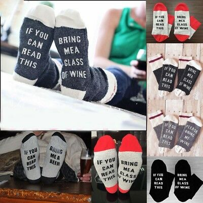 If You can read this Bring Me a Beer A Glass Of Wine Women Men Socks (Bring Me A Glass Of Wine Socks)