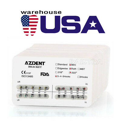 300pack Azdent Orthodontic Bracket Braces Dental Metal Mini Roth 022345hooks Us
