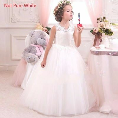 Kids Flower Girl Bow Princess Dress for Girls Party Wedding Bridesmaid Gown O92](Dresses For Girls For Party)