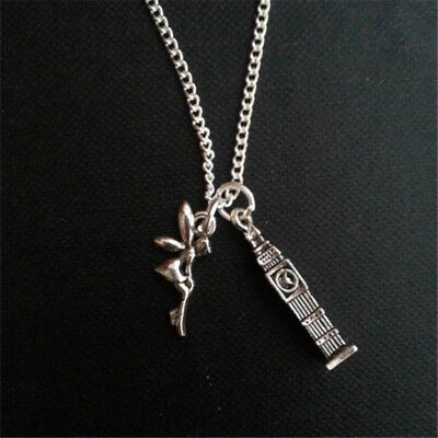 Peter Pan Inspired Necklace Big Ben and Tinkerbell Charm Necklace in silver tone (Tinkerbell And Peter Pan)